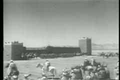 Moroccans gathering in front of fortress Stock Footage