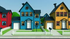 Driving along cartoon suburban houses Stock Footage