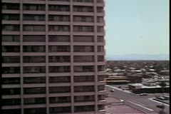 Aerial view of Las Vegas parking lot in the 1970s Stock Footage