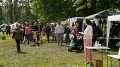 Festival stalls with people Stock Footage