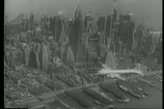 Aerial view Of New York City in the 1940s - stock footage