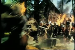 Vikings invading village - stock footage