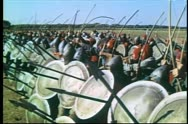 Stock Video Footage of Medieval soldiers shooting arrows at opposition on battlefield