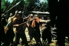 Wide shot medieval warriors fighting in forest Stock Footage