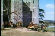 Stock Video Footage of Knights on horseback leaving fortress