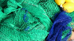 Fisherboat trawler nets in blue and green color Stock Footage
