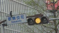 Beautiful crow resting on street sign, Tokyo, Japan Stock Footage