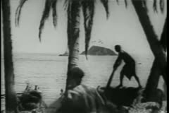 Eager natives on tropical island running towards ocean Stock Footage