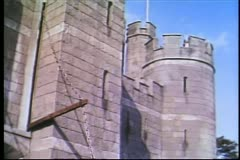 Medieval warriors returning to fortress Stock Footage