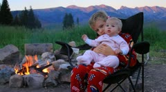 Camping with baby sister. Stock Footage