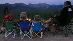 Family Around the Campfire Stock Footage