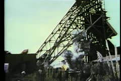 Explosion in abandoned mine Stock Footage