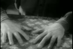 Hands on table - stock footage