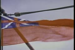 British ensign fading to pirate flag - stock footage