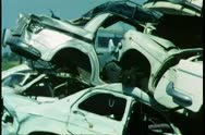 Junkyard filled with cars Stock Footage