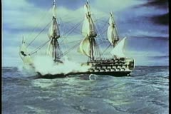 Stock Video Footage of Men firing from 19th century ship at sea
