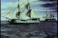 Two 19th century ships at sea Stock Footage