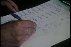 Close-up of hand duplicating signature - stock footage