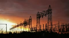 Stock Video Footage of Electrical Power Station at Sunrise