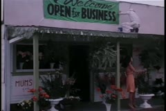 Grand opening of flower shop - stock footage