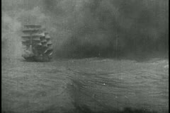 Sailors on ship during thunderstorm - stock footage