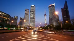 HD: busy traffic in Shanghai Pudong at night, timelapse - stock footage