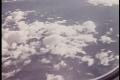 View of clouds from airplane window Stock Footage
