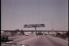 View from car driving on Santa Monica Freeway Stock Footage