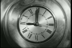 Close-up wall clock at 9 o'clock Stock Footage