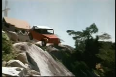 Car falling off cliff Stock Footage