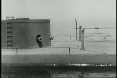 Close-up of submarine on surface of water - stock footage