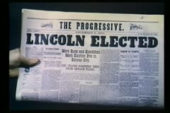 Stock Video Footage of Newspaper headline - Lincoln Elected