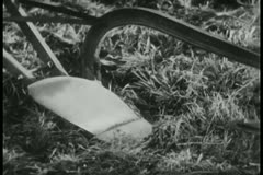 Close-up of farmer plowing field Stock Footage