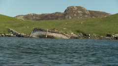 Shipwreked boat in the Hebredian isles Stock Footage