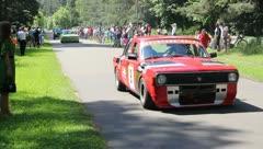 Old russian car Volga racing event Stock Footage