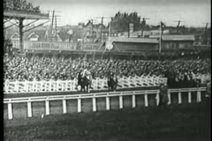 Wide shot of horse race - stock footage