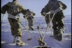 Rear view of Antarctic expedition Stock Footage