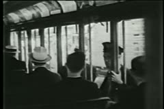 Passengers on New York City trolley, 1930s Stock Footage