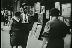 Outdoor art market in Soho, New York City, 1930s Stock Footage