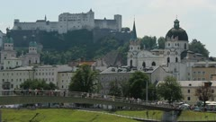 Salzburg - Castle Hohensalzburg w Makartsteg Stock Footage