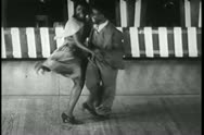 African American couple swing dancing, 1930s Stock Footage