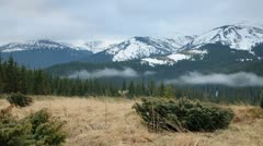 Foggy morning in mountains Stock Footage