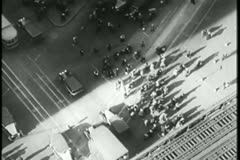 Aerial view of busy New York City street, 1930s - stock footage