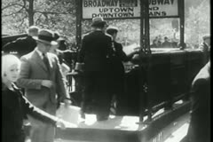 Busy New York City subway entrance, 1930s Stock Footage