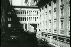 View from car driving in New York City, 1930s Stock Footage