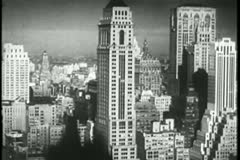Woolworth building and surrounding buildings in lower Manhattan - stock footage