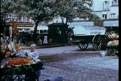 Montage - reenactment of 1930s street scene in Paris Stock Footage