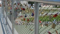 Salzburg - Makartsteg - Lovers Locks Stock Footage