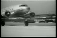 Montage - airplane taking off, fading into United States map - stock footage
