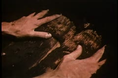 Close-up of hands removing soil from wooden coffin - stock footage